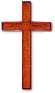 "Wood Solid Mahogany Wall Cross 5"" X 8"" Boxed Easy to Hang"