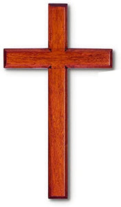 "Wood Solid Mahogany Wall Cross 6"" X 10"" Boxed Easy to Hang"