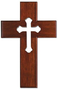 "10"" Mahogany Wood Wall Cross with Cut-Out Cross"