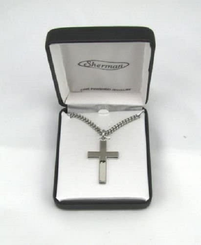 Rhodium Plated Mens Silver Cross Fashion Necklace w 24