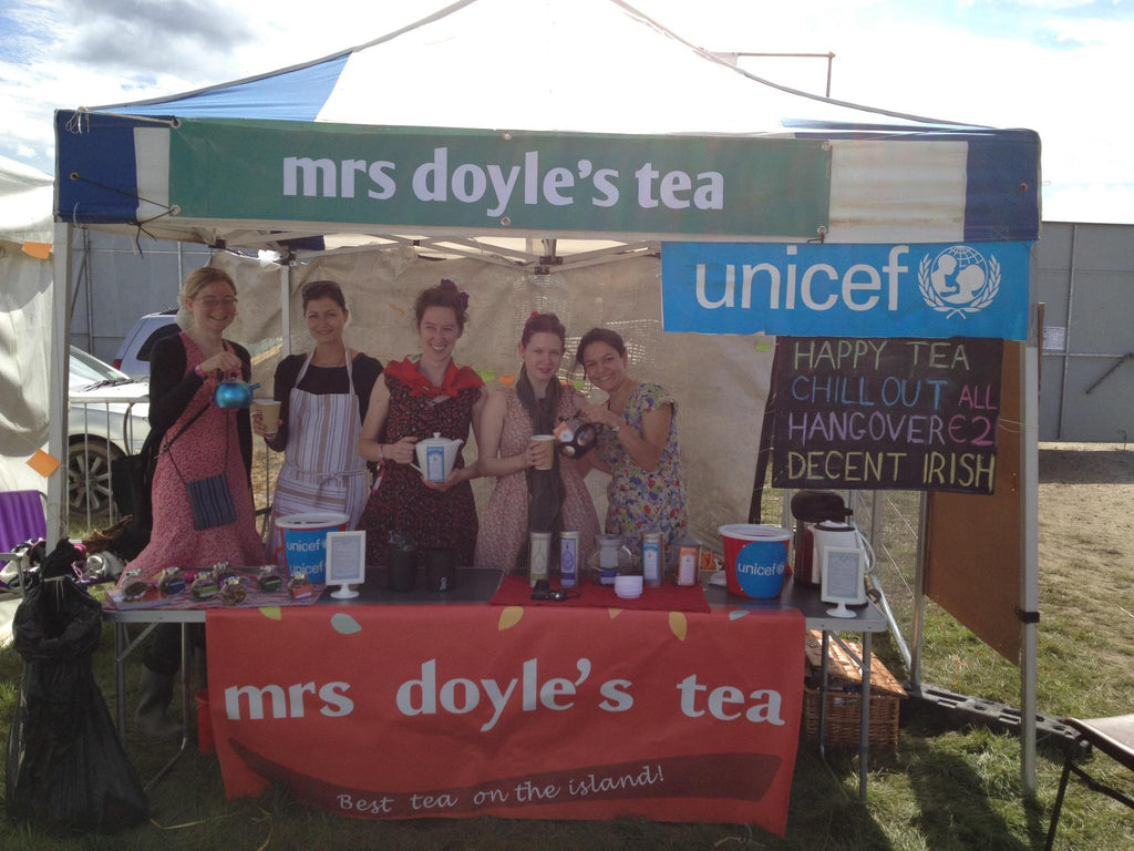 "Mrs Doyle's Pop up tea tent at the Rose of Tralee festival "".  Irish tea making workshop"""