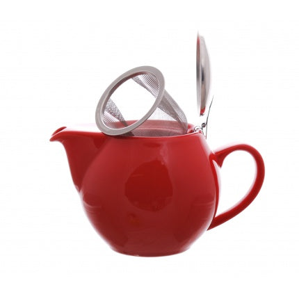 Red loose leaf tea pot with infuser