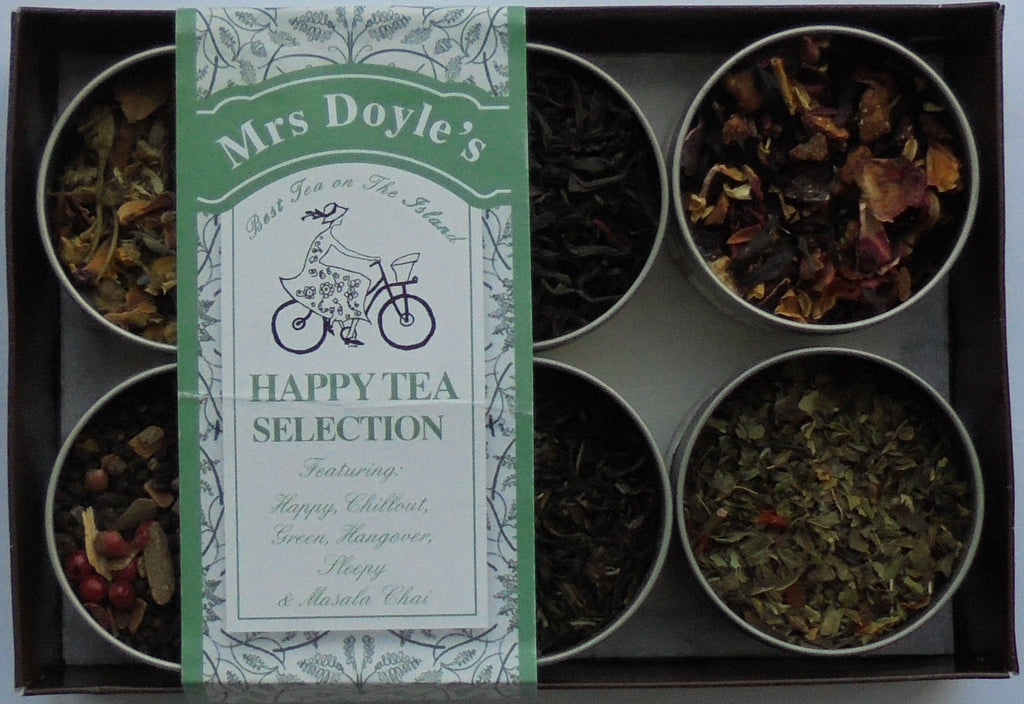 Mrs Doyle's Happy Tea gift set collection contains six tins of loose leaf  Chill-Out Tea, Earl-Grey Tea, Masala Chai Tea, Camomile Sleepy Tea, and Hangover Tea.