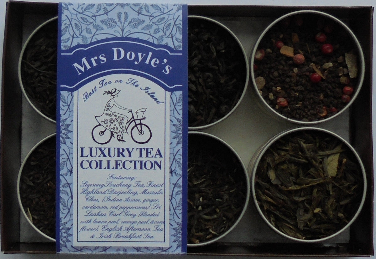 Mrs Doyle's Luxury Loose Leaf Gift Tea set  contains tins of Lapsang Souchong tea, Darjeeling tea, Earl Grey tea, Irish  tea, English tea and Masala Chai tea