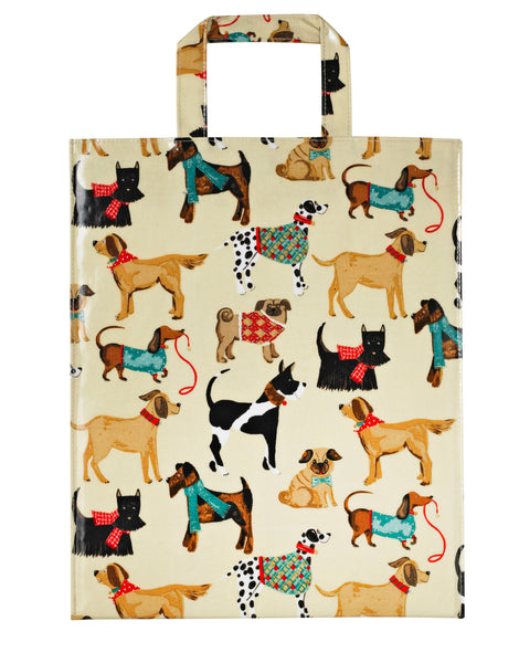 Hound Dog  Medium Bag, features a fun design of dogs in coats and scarves, it's a big PVC Bag, made of 100% cotton with a PVC coating and 39 x 31.5 x 15 cm. in size