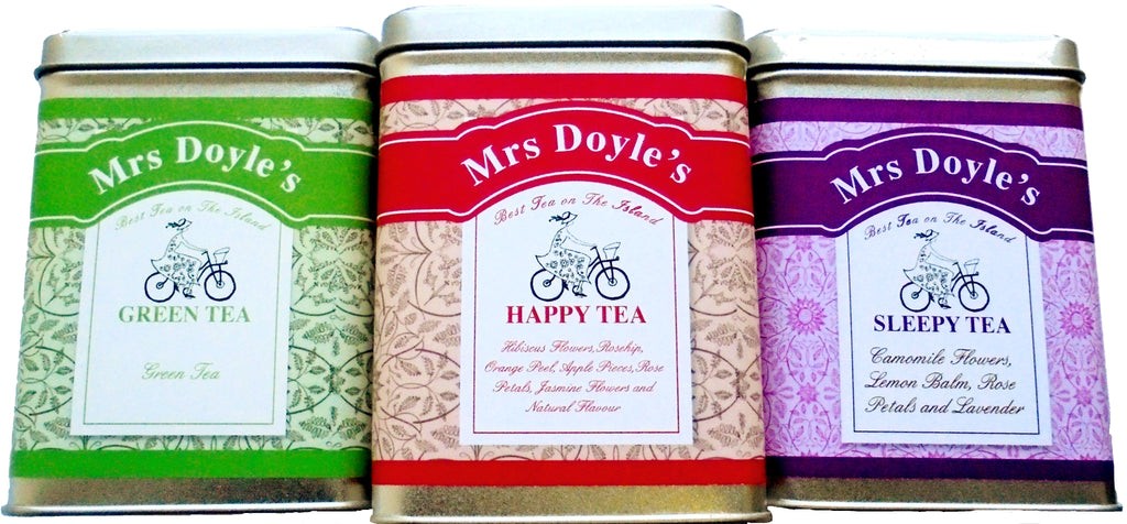 Mrs Doyle's Skinny Tea gift caddy collection includes tins of loose leaf  Happy Fruity tea , Minty Loose Leaf Green tea, and Sleepy Camomile