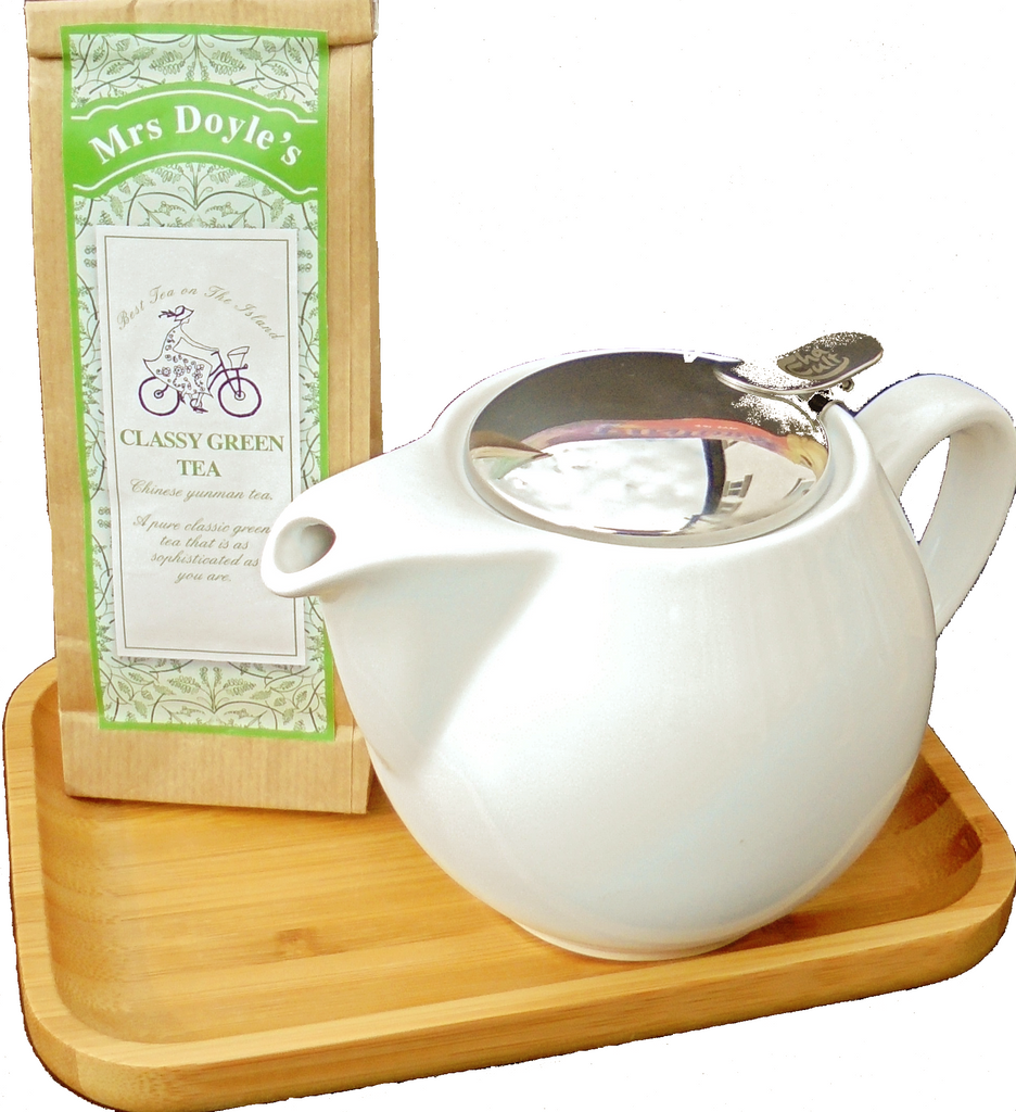 Mrs Doyle's Snow White Tea Pot Gift Set is just so perfect , the big white tea pot has a removable stainless steel tea filter, and bamboo tray and pack of pure green loose leaf tea