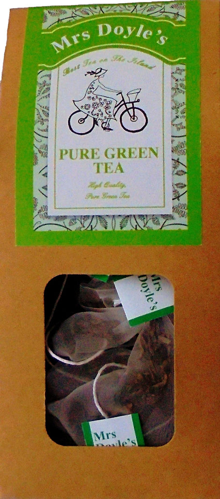 Mrs Doyle's green pyramid tea bags contain Chinese yunnan green tea