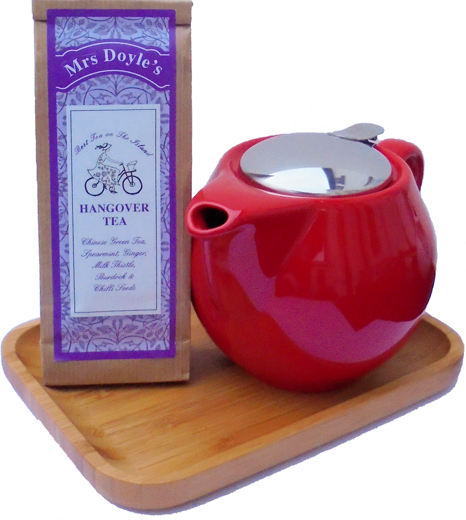 Hangover Tea Gift Set includes red tea pot with filter and pack of loose leaf  Hangover tea