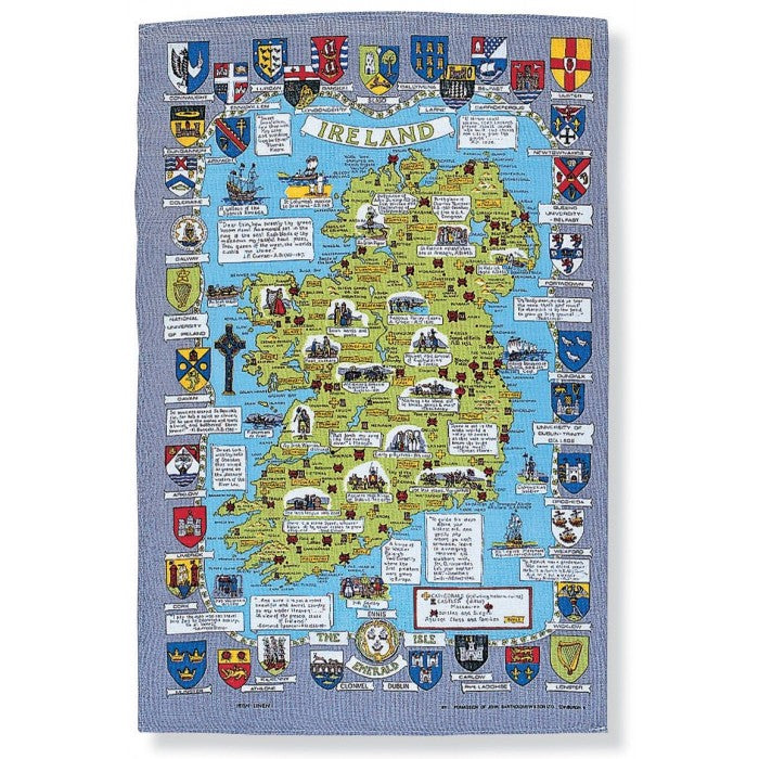 Linen tea towel Historical Map of Ireland tea Towel