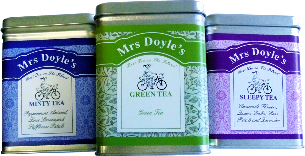Mrs Doyle's Detox Tea Gift  set contains  3 tins of loose leaf Green tea , Minty Peppermint tea and Chamomile Sleepy tea