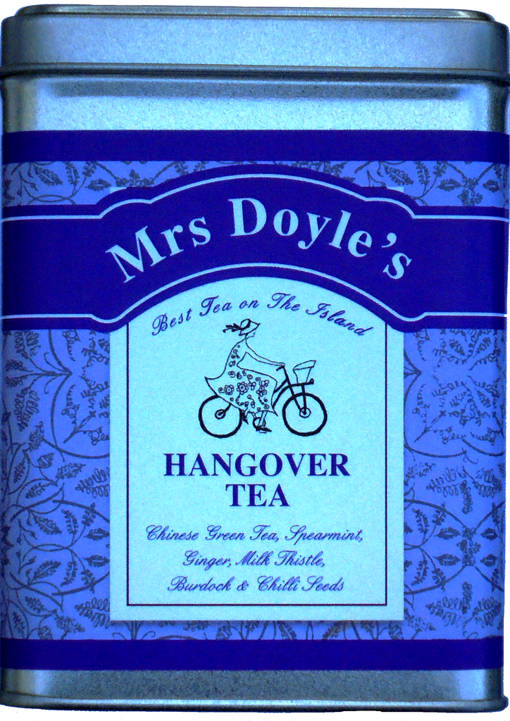 Mrs Doyle's Hangover tea Caddy tin contains a blend of loose leaf Chinese green tea, spearmint, ginger, milk thistle, burdock and chili seeds