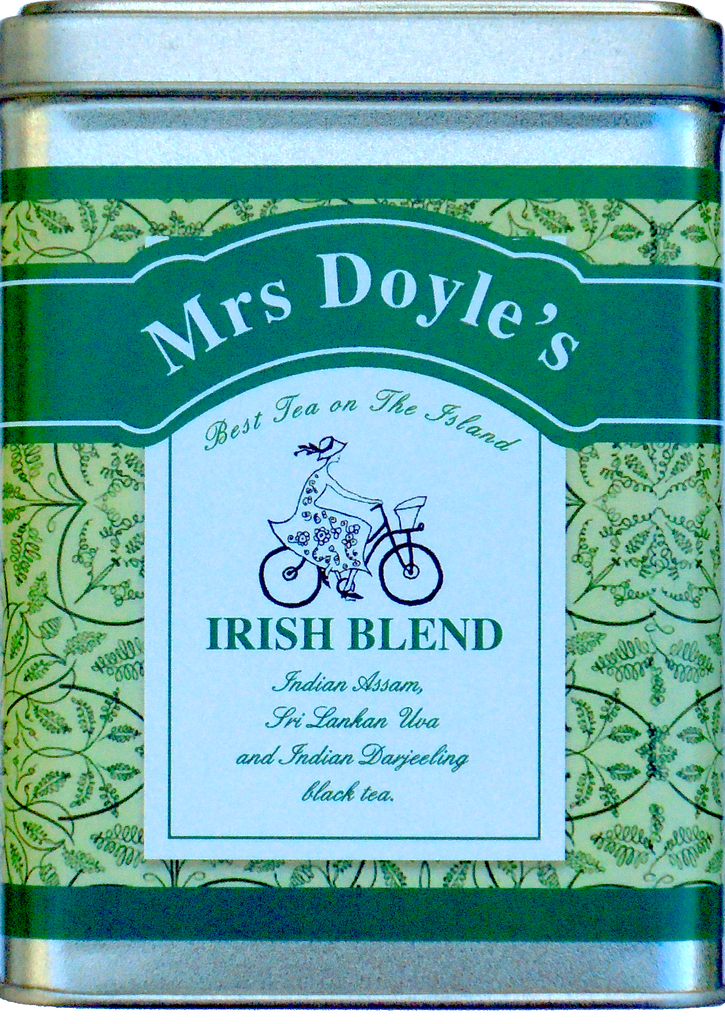 Mrs Doyle's Irish tea Caddy tin contains 100 grams of loose leaf Irish tea , a blend of  Indian Assam black tea  and  Darjeeling black tea