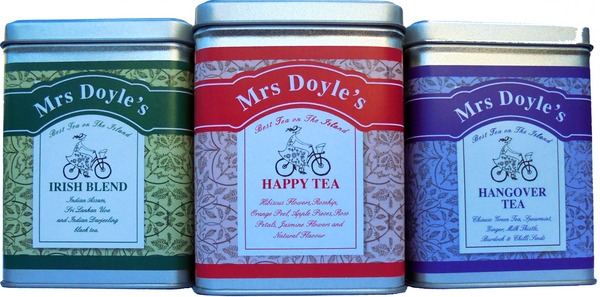 Mrs Doyle's Hard days night tea gift set contain 3 tea caddy tea tins of loose leaf Irish tea , Happy tea and Hangover tea
