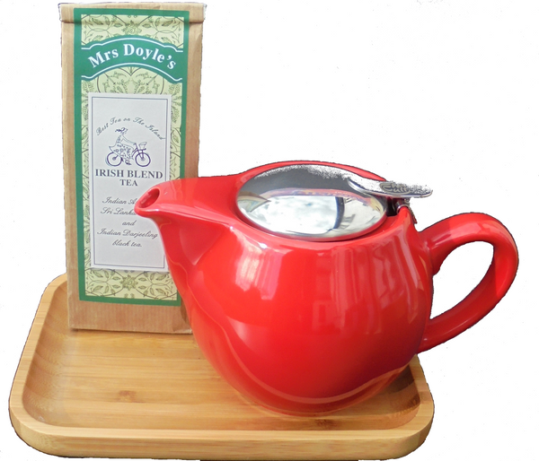 Mrs Doyle's Big Red Tea Pot Gift Set just so lovely , the big red tea pot ,with removable stainless steel tea filter, on bamboo tray and pack of Irish breakfast tea
