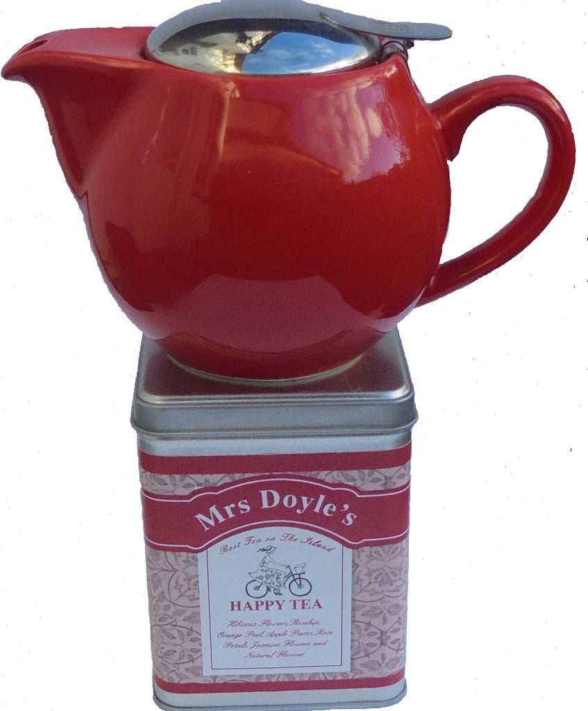 Red Loose leaf tea pot with infuser and tin of happy fruity tea
