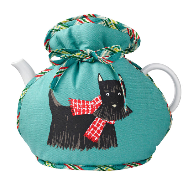 Mrs Doyle's Hound Dog Tea Cosy features this lovely Scotty Dog design, it wraps around the pot and ties at the top and made from 100% cotton