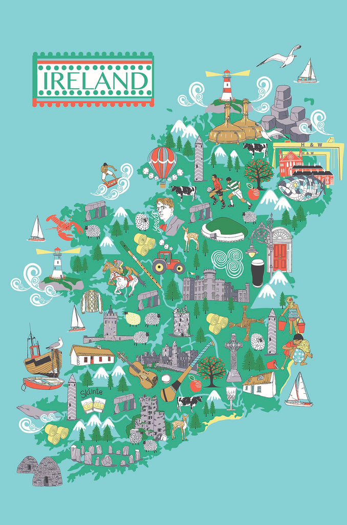 Mrs Doyle's Irish map tea towel is the perfect little Irish gift ! This Irish tea towel features a fun map of Ireland and  lots of towns around the big island
