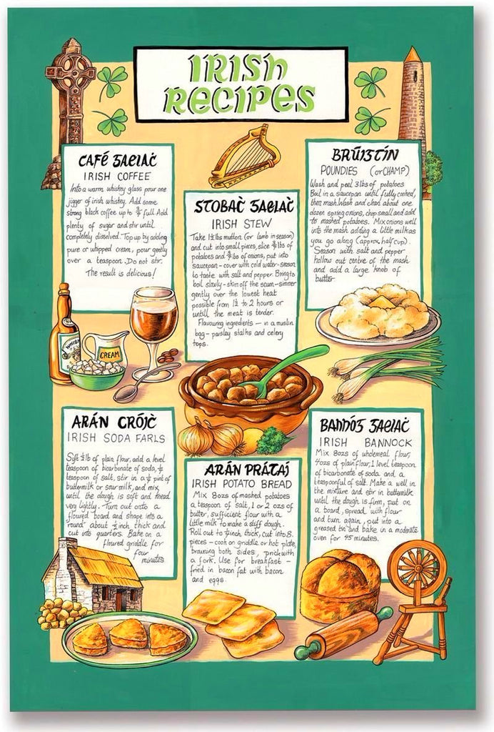 Mrs Doyle's Irish Recipes Tea Towel is decorated with some of Mrs Doyle's most famous Irish recipes, it's another little perfect Irish gift, so GoOn get cooking