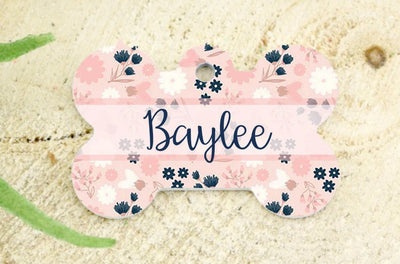 Dog ID Tag - Blush, Navy, Pink, and White Floral Print