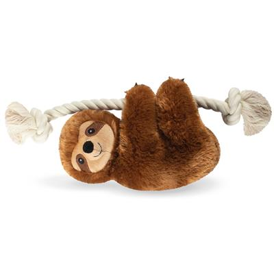 Brown Sloth On A Rope Plush Dog Toy