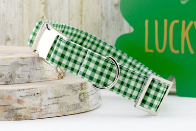 Painted Gingham Dog Collar - Pine Green