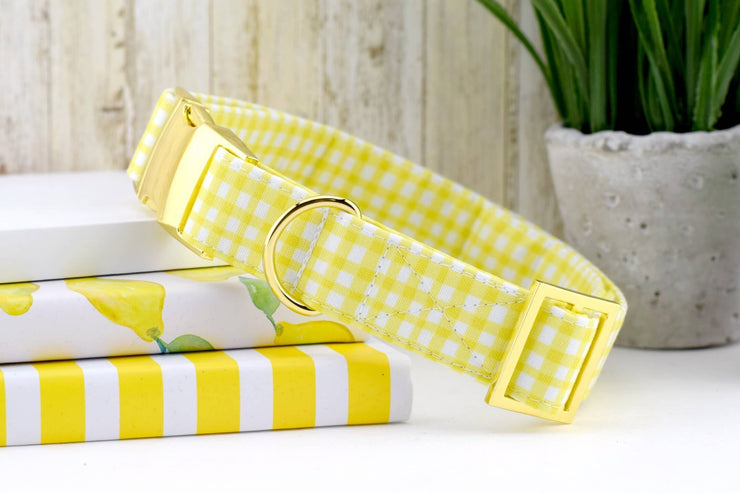 Painted Gingham Dog Collar - Yellow & White