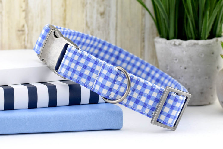Painted Gingham Dog Collar - Periwinkle & White