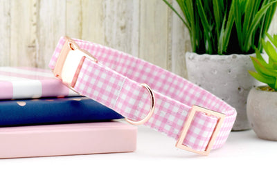 Painted Gingham Dog Collar - Light Pink & White