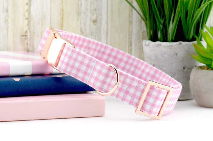 Painted Gingham Dog Collar - Light Pink