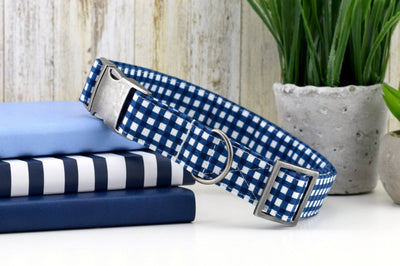 Painted Gingham Dog Collar - Navy
