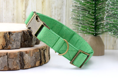 Green GLITTER Dog Collar
