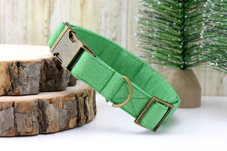Dog Collar - Green With Gold GLITTER
