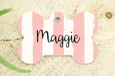Dog ID Tag - Pink & White Painted Striped Dog ID Tag