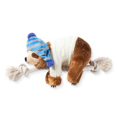 Beanie Sweater Sloth on a Rope Dog Toy