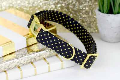 Polka Dot Dog Collar - Gold Metallic on Black