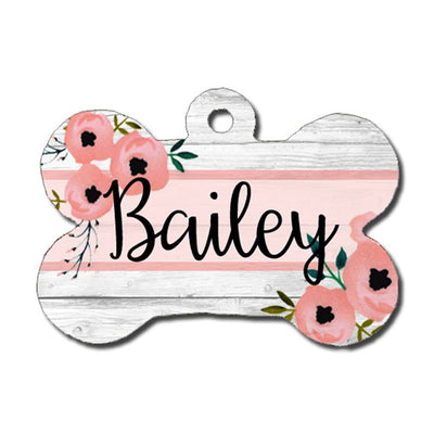 Dog ID Tag - Watercolor Floral on Rustic Wood Background