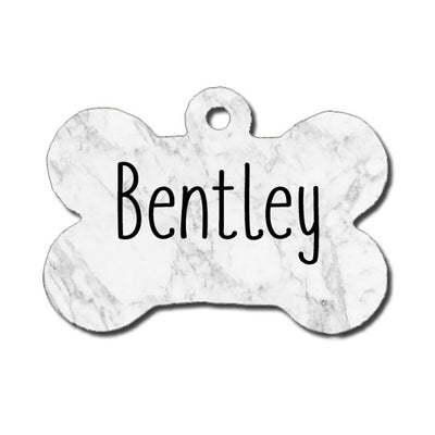 Dog ID Tag - White and Gray Marble