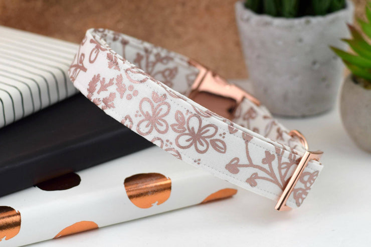 Metallic Doodle Dog Collar - Rose Gold/White