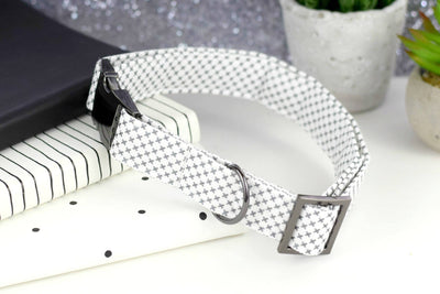 Dog Collar - White w/ Metallic Gunmetal Print Cotton Fabric