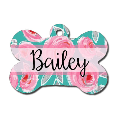 Dog ID Tag - Teal and Pink Floral Print