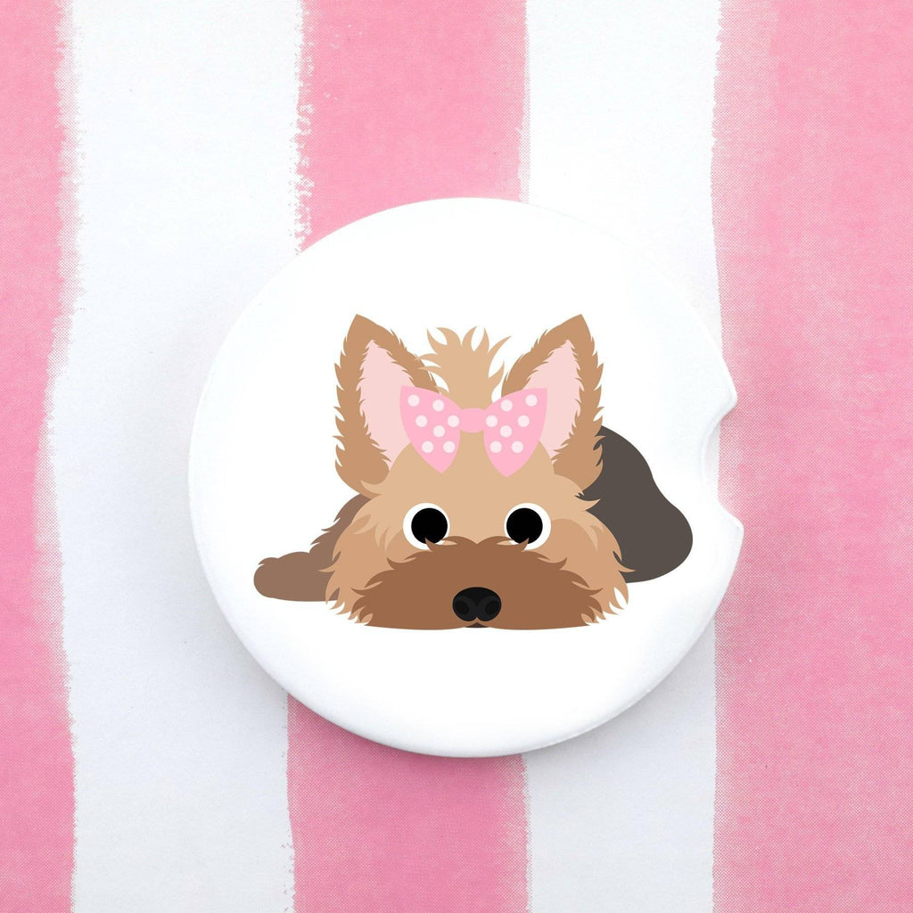 Car Coaster - Yorkie With Bow Car Coaster