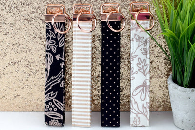 Key Fob - Rose Gold Metallic, White & Black