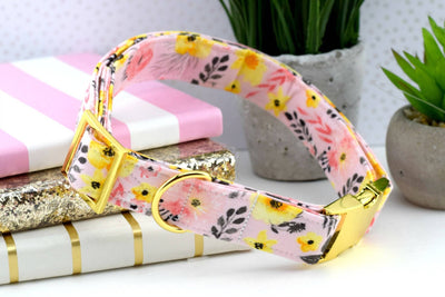 Floral Dog Collar - Pink & Yellow