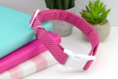 Dog Collar - Pink and White Polka Dot Print Cotton Fabric Collar