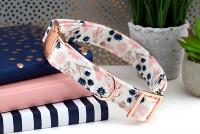 Floral Dog Collar - White, Blush, Navy, Rose Gold