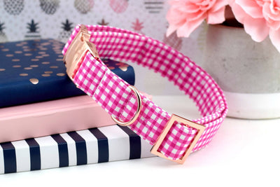 Painted Gingham Dog Collar - Magenta
