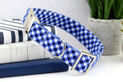 Gingham Dog Collar - Blue