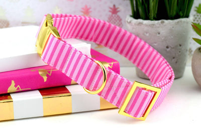 Dog Collar - Pink Striped Cotton Fabric
