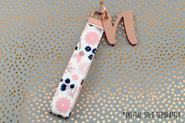 Key Fob - Rose Gold Metallic, Navy & Blush